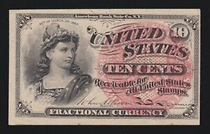 US 10c Fractional Currency 4th Issue FR 1257 Ch AU (005)