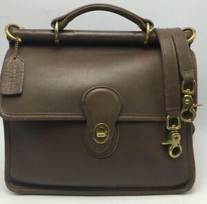 "Vintage COACH ""Willis"" Bag Satchel Crossbody #9927 Brown Glove Leather Brass HW"