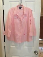 Isaac's Design...Button Down Blouse PINK W/swirls And Flowers LAS OLAS TOP SzXL!