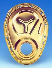 Milodon Engine Timing Cover 65555; Gold Iridite Steel for Chevy 283-350 SBC
