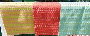 LOT 3 Textured Craft Fabric Panel Lurex Ribbon Embroidered Geometric Groovy 26""
