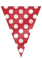 RED POLKA DOTS - Flag Banner -  (12') -  Spots Birthday Party