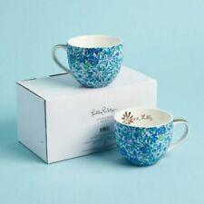 Lilly Pulitzer 12oz Ceramic Mugs Set of 2 Coffee Tea Blue Floral LIL-HO-001 NEW
