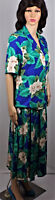 LESLIE FAY size 10 2-piece jacket/skirt floral blue/green/beige easy care rayon
