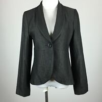 Orthodox M Medium Blazer Jacket Dark Taupe One Button  Shawl Collar Round Hem