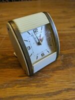 WESTCLOX TRAVALARM WIND UP ART DECO TRAVEL ALARM CLOCK VTG SLIDE SPACE AGE POD