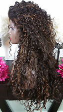 Soft Curly Medium Brown w/Auburn Highlights Lace Front Wig Long Layers Heat Safe