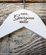 PERSONALISED WEDDING HANGERS COAT HANGER BRIDAL PARTY GIFTS WHITE WH34