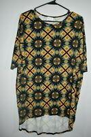 Lularoe Size XS Women's Irma Tunic Top Black Yellow Geometric Print Shirt
