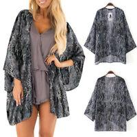 Fashion Womens Sheer Chiffon Beach Kimono Cardigan Blouse Shawl Tops Outwear New