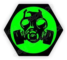 Gas Mask Biohazard Hard Hat Sticker / Motorcycle Biker Helmet Decal Label Zombie