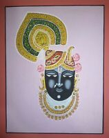 Shrinath Ji God Painting Religious Handmade Miniature Artwork On Paper