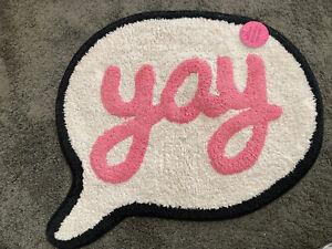 Sass & Belle 'Yay' Speech Bubble Shape Rug or Bath Mat - Brand New