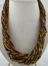 "EXCLUSIVE 12 LINE 22"" NATURAL TIGER'S EYE TUBE SHAPED BEADS BUNCH NECKLACE"
