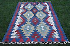Turkish Anatolian Handmade Bohemian Geometric Kilim Rug 5x8 feet