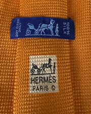 Hermes Paris Basic Classic Silk Orange Tie Cravate