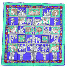 HERMES Auth Silk Scarf Carre 90 TORANA Blue Ladies Large Wrap NOS FS Mint #0390