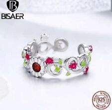 Vine Branch Open Adjustable Finger. Bisaer 925 Sterling Silver Enamel Flower