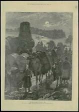 1885-Original impression Antique Asie centrale Great Highway chameaux voyageurs (168)