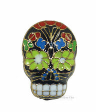 Bronze Black Floral Mexican Gothic Skull Costume Jewellery Adjustable Ring