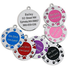 Cute Personalised Pet Tags Custom Dog Cat Name ID Laser Engraved Collar Tag Disc