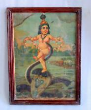 Vintage Old Rare Hindu God Krishna With Devil Snake Ravi Varma Press Litho Print