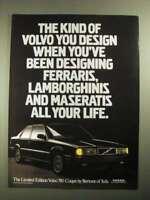 1988 Volvo 780 Bertone Coupe Limited Vintage Advertisement Car Print Ad J394