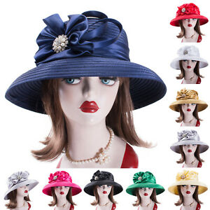 Womens Crystal Satin Ribbon Dress Church Designer Bridal Kentucky Derby Hat A585