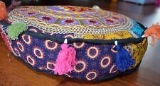 Bean Bag Pouf Cover Indian Patchwork Handmade Cotton Floor Footstool 40cm Purple