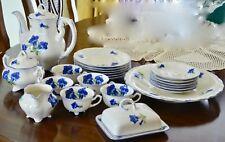 Koenigszelt Charlotte BLUE Flowers Coffee Lunch Fine China Made Germany Antique