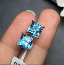 4Ct Princess Cut Blue Topaz Diamond Solitaire Stud Earrings 14K Rose Gold Finish