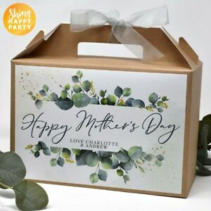 PERSONALISED Large Green Eucalyptus Happy Mother's Day Afternoon Tea Box