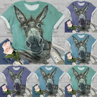 Women Short Sleeve 3D Animal Printed Crew Neck Tops Tees T-Shirt Pullover Blouse