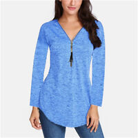 Plus Size Women V Neck Zipper Long Sleeve Blouse Ladies Casual Tunic Top T Shirt