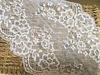 """Premium  7""""/17cm Bright White Stretch Flat Lace Trim. Sewing/Lingerie/Bridal"""