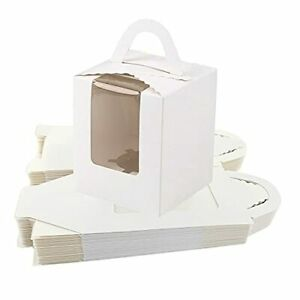White Single Cupcake Boxes Individual Cupcake Containers with Handle and Wind...