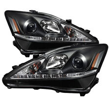 Fit Lexus 06-10 IS250 IS350 Black DRL Bright White LED Projector Headlights Set