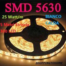 STRISCIA LED 5630 300Led IMPERMEABILE 5MT 12V BIANCO CALDO CON ALIMENTATORE 2A