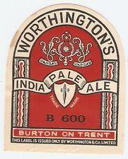 Worthington IPA Label - Bottler B600 (George Beer & Rigden?) 1940s/1950s - Mint