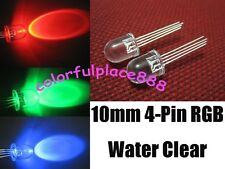 50pcs, 10mm 4-Pin Tri-Color RGB Water Clear Common Anode Red Green Blue LED Leds