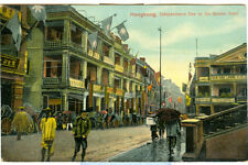 c1910 Hong Kong China Hand-Colored Postcards Queen's Road Bird's Eye View Praya
