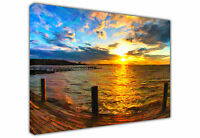 SUNSET OVER SEA JETTY CANVAS PICTURE PRINT / WALL ART / LARGE / PICTURE PRINTS
