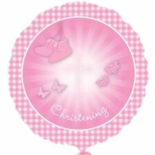 Christening Booties Pink Foil Balloon Religion Baby Party Decorations