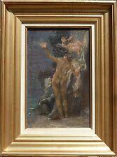 ANTOINE CALBET TABLEAU HSP PEINTURE ORIGINALE NU FEMININ ET ANGELOT / RARE +++
