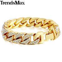 Mens Womens Yellow Gold Plated 14mm Iced out Curb Cuban Chain Bracelet Jewelry