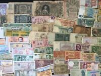 Lot of 115 Different Banknote 20+ Countries Old & UNC Foreign Worldwide Currency