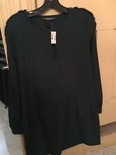 Forest Green Fringe Mini Dress/ Tunic Size Small By Scoop NYC NWT MSRP $265