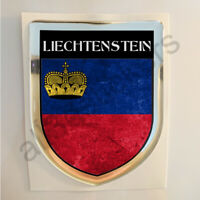 Pegatina Liechtenstein 3D Bandera Grunge Escudo Adhesivo Relieve Pegatinas