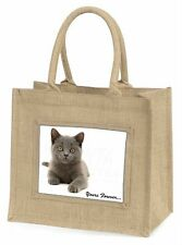 Silver Blue Cat 'Yours Forever' Large Natural Jute Shopping Bag Chris, AC-133BLN