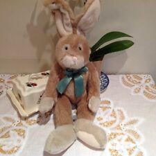 Russ Berrie STUART Cuddly Plush Soft Toy BUNNY RABBIT Bendable Ears